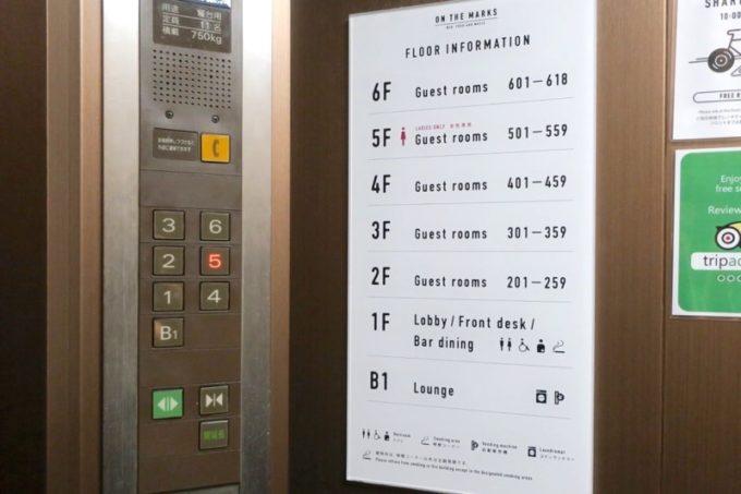 川崎のホテル&ホステル「オンザマークス(ON THE MARKS)」のエレベーターとフロアガイド。