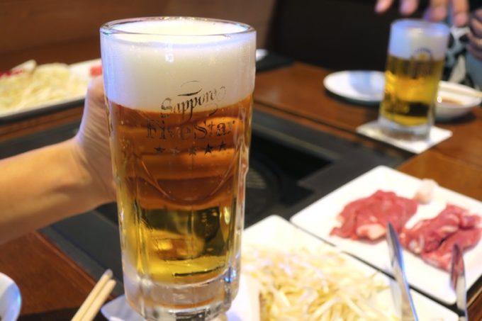 札幌・サッポロビール園「ガーデングリル」の2杯目はサッポロファイブスター(ジョッキ、680円)