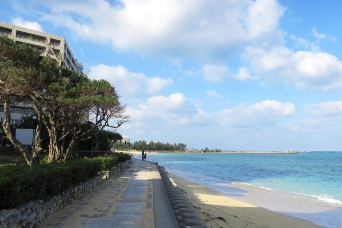 朝食後、800m続く天然の白浜ビーチ沿いを散歩した。