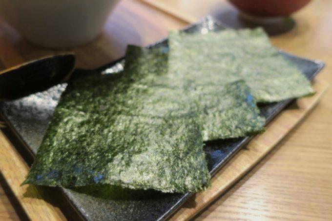 沖縄市「麺家しゅんたく」のトッピング、海苔3枚(+50円)