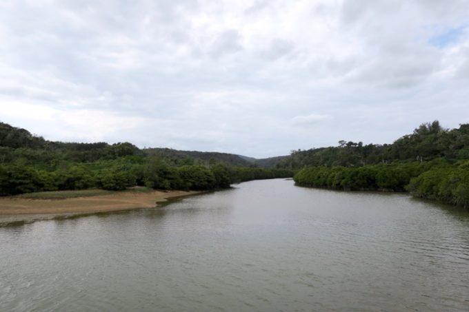 沖縄本島北部の東村にある慶佐次湾の湿地帯を、1号展望台から眺める。