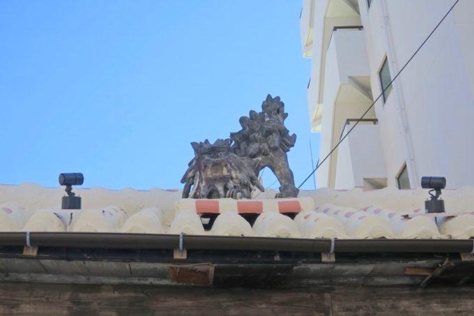 那覇・前島の沖縄そば店「いしぐふー前島店」の屋根にいるシーサー。