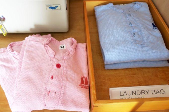 本部町「マリンピアザオキナワ」客室(和洋室)の部屋着用パジャマ。