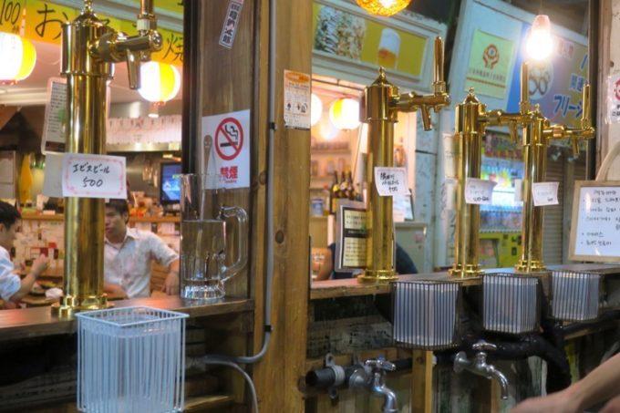 那覇・牧志「恵比寿珈琲麦酒」のタップハンドルを内側から撮影。