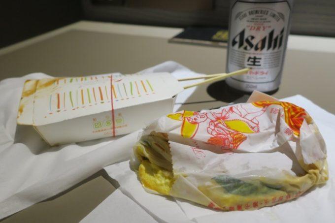 ホテルに戻り、「公館夜市」で買ってきた小吃をいただいた。