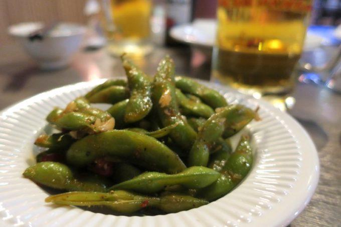 台湾ビール工場併設「Super 346 Live House」サービスで出してもらった枝豆。