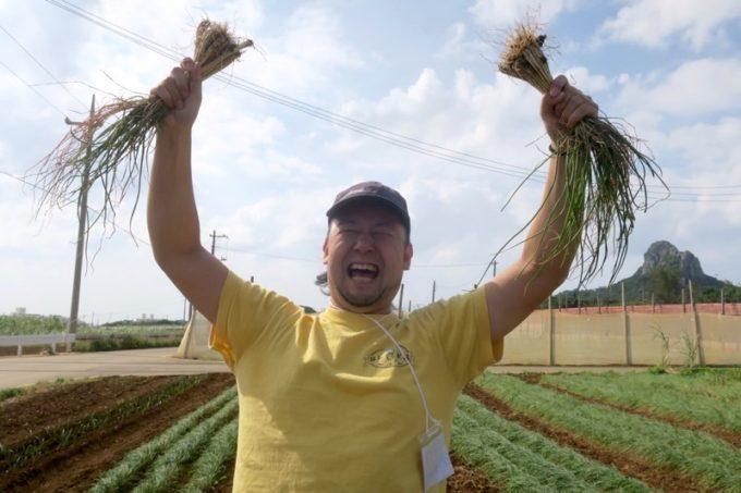 沖縄本島北部の離島・伊江島で農業体験で、島らっきょうとったどー!