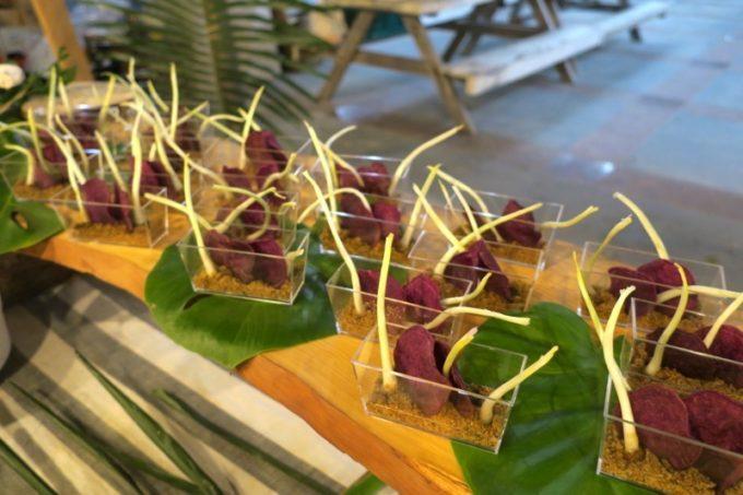 伊江島「ビーチグランピングBBQ」で提供された前菜。
