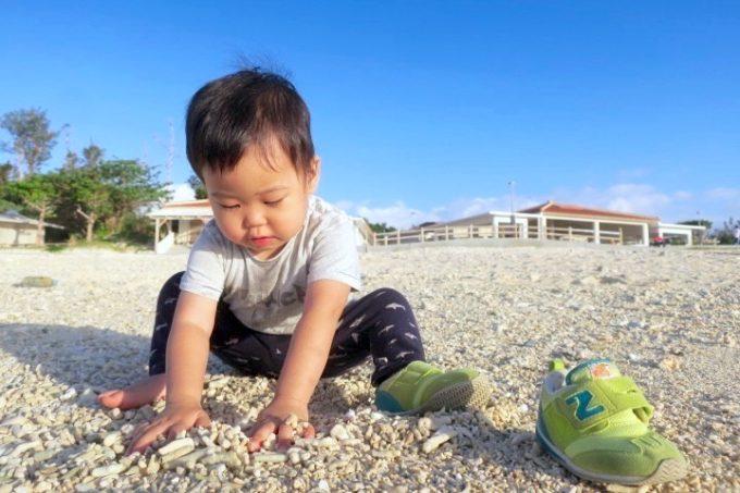 伊江島「伊江ビーチ」1kmも白浜が続く。