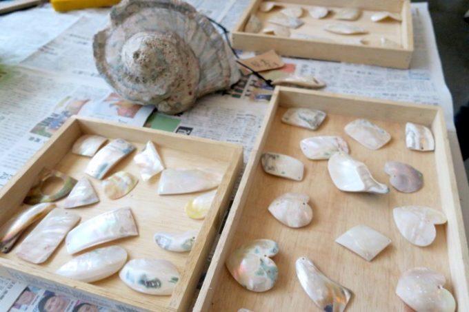 伊江島にあるペンション「マリンハウスIEアイランド」の貝殻クラフト体験で使うネックレスの素材。