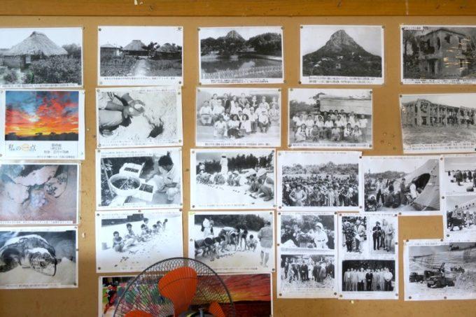 伊江島カントリークラブにあるレストラン「バーディーハウス」に貼られていた伊江島の古い写真。