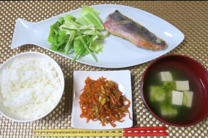 伊江島で民泊(玉城加津美さん宅)でいただいた朝食。