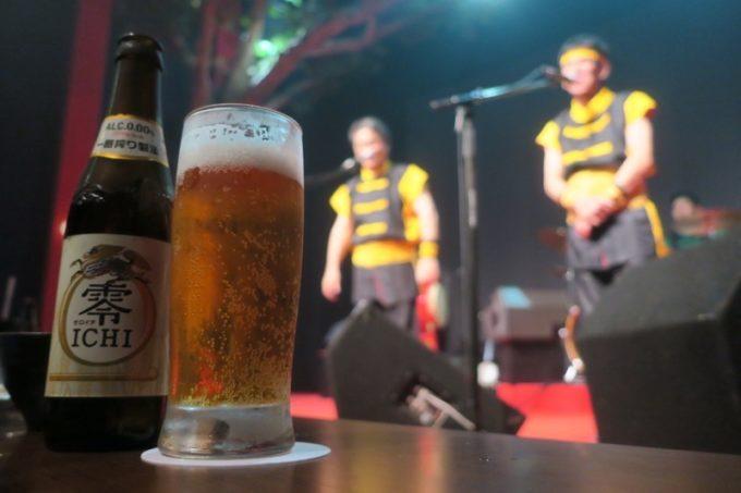 北谷・美浜「りんけんバンドショウ」じゃんけんに負けたので、ノンアルコールビール(500円)をおかわり。