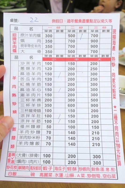 台湾・高雄「水源羊肉爐」のメニュー表。