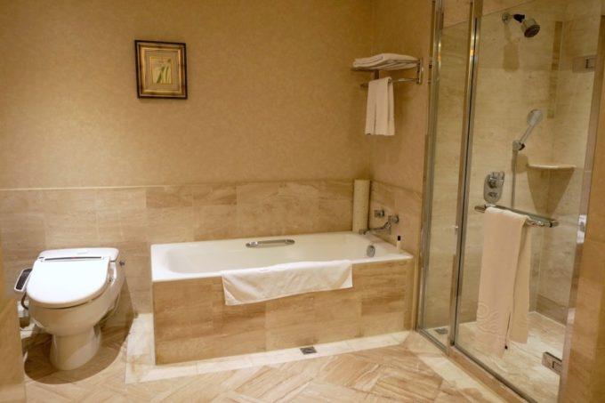 台湾・高雄「リーズホテル(麗尊酒店)」デラックスダブルルームのバスルーム周辺。