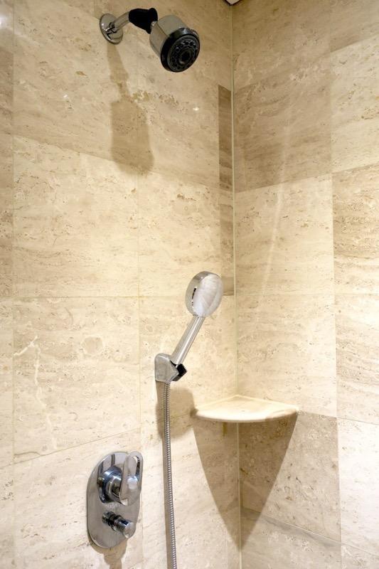 台湾・高雄「リーズホテル(麗尊酒店)」デラックスダブルルームのシャワールーム。