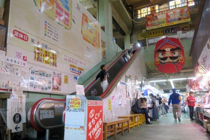 2019年6月16日で一時閉鎖する、那覇・牧志公設市場1階の様子(2階へ続くエスカレータ)
