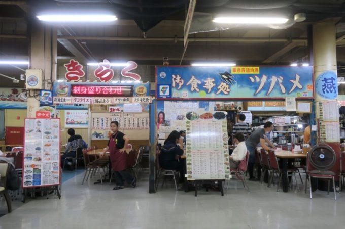 2019年6月16日で一時閉鎖する、那覇・牧志公設市場2階にある食堂の様子(きらくとツバメ)