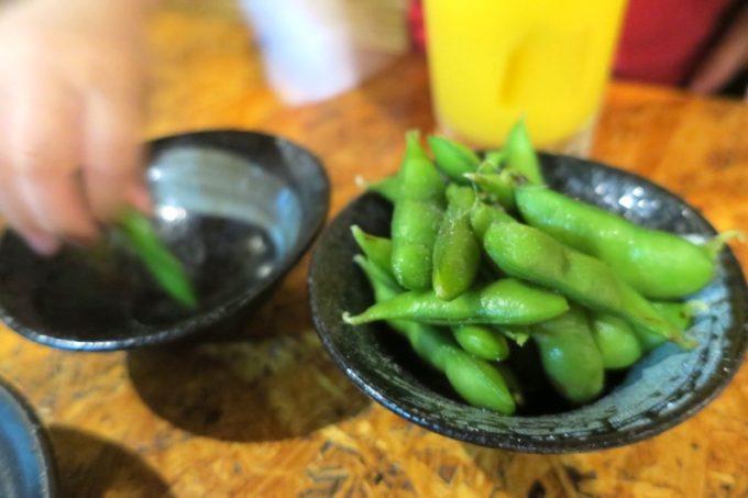 宜野湾・宇地泊「東京やきとり酒場」お通しの枝豆