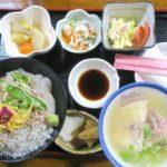 鹿児島・薩摩川内「浜の茶屋」で食べた、しらすと海鮮のW丼(1400円)