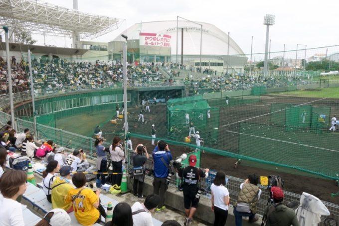 阪神タイガースの宜野座キャンプ(プロ野球春季キャンプ2019)で訪れた宜野座村営野球場。