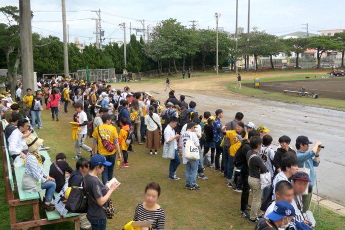 阪神タイガースの宜野座キャンプ(プロ野球春季キャンプ2019)でサイン欲しさに選手に群がるファンたち。