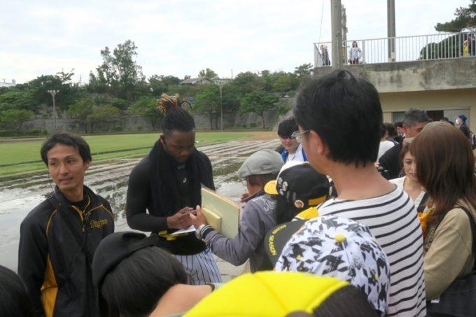 阪神タイガースの宜野座キャンプ(プロ野球春季キャンプ2019)でファンのサインに応えるドリス投手(背番号98)