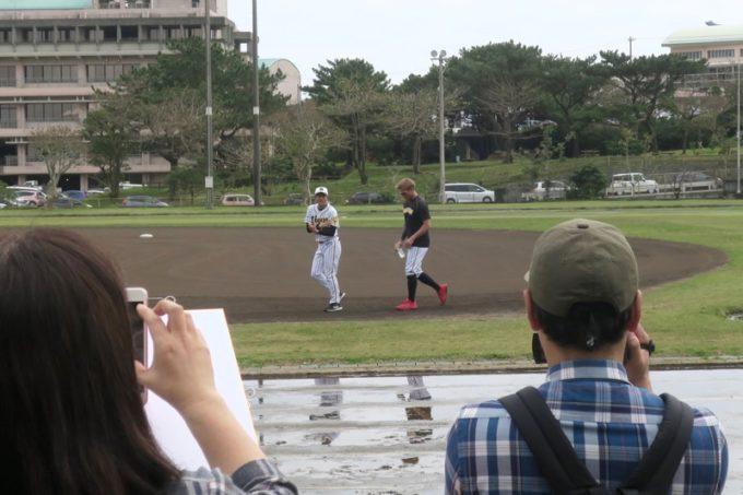 阪神タイガースの宜野座キャンプ(プロ野球春季キャンプ2019)で走り込みをする糸井嘉男外野手(背番号7)
