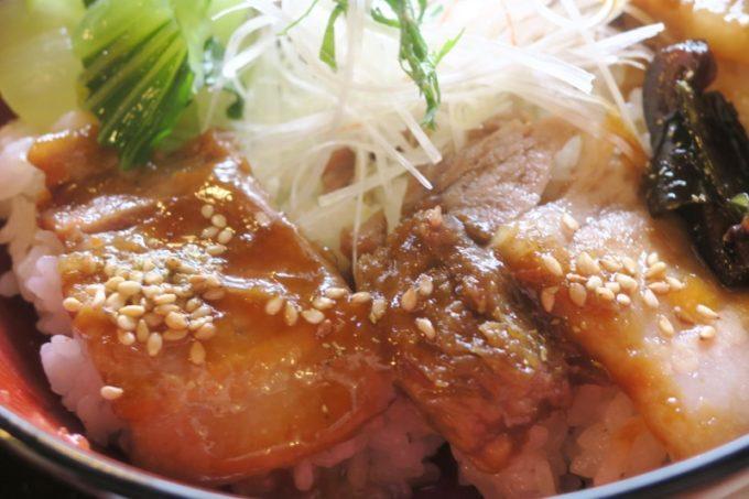 鹿児島・薩摩川内は入来麓武家屋敷群にある「武家茶房Monjo(もんじょ)」のせごどんぶいは、西郷梅入りの自家製味噌ダレで煮込まれている。