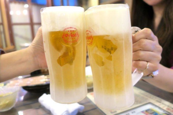 恩納村「三線の花」ビールはオリオンドラフト(480円)