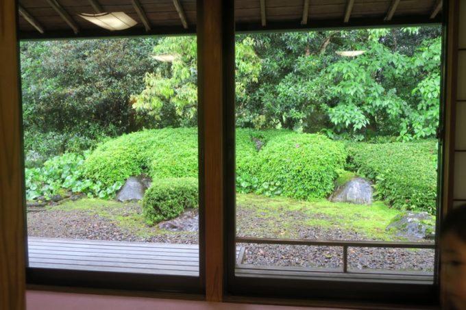 宮崎・綾町「酒泉の杜 綾陽亭」離れのリビングに面した大きな窓と裏庭。