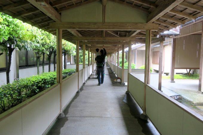 宮崎・綾町「酒泉の杜 綾陽亭」の離れに向かう廊下。