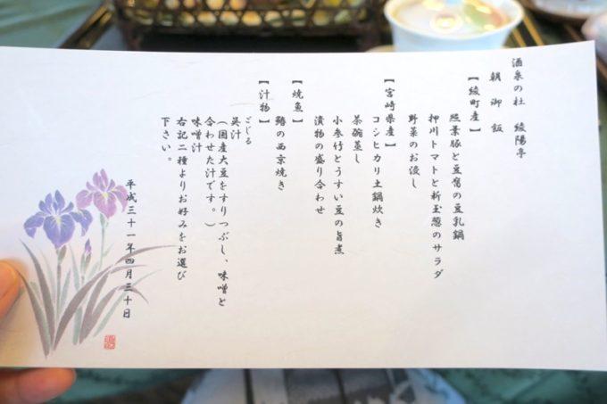 宮崎・綾町「酒泉の杜 照葉庵」のこの日の朝食メニュー。