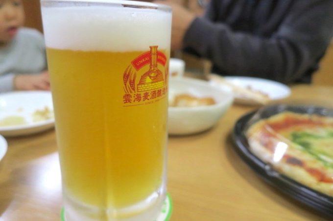 宮崎・酒泉の杜「居酒屋てるは」で雲海麦酒醸造所の季節限定、宮崎日向夏の発泡酒(大、500円)