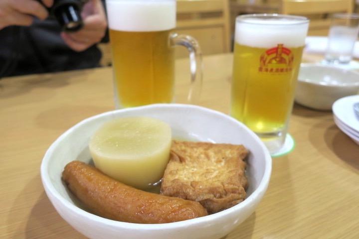 宮崎・酒泉の杜「居酒屋てるは」おでんセット(500円、おでん3品+ドリンク1杯)は雲海麦酒醸造所のピルスナーをチョイス。