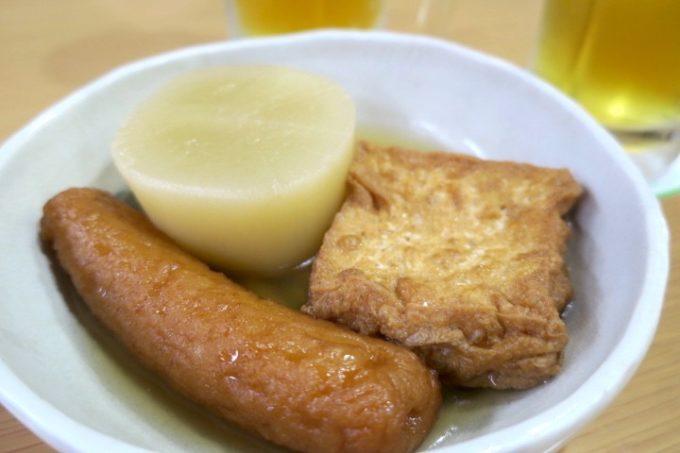宮崎・酒泉の杜「居酒屋てるは」で食べたおでん(大根、厚揚げ、ごぼう天)