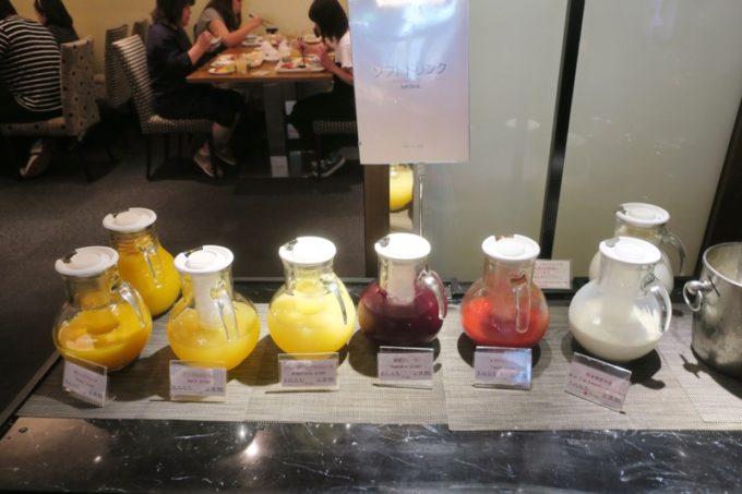 ANAクラウンプラザホテル熊本ニュースカイの朝食会場「サンシエロ」のソフトドリンク