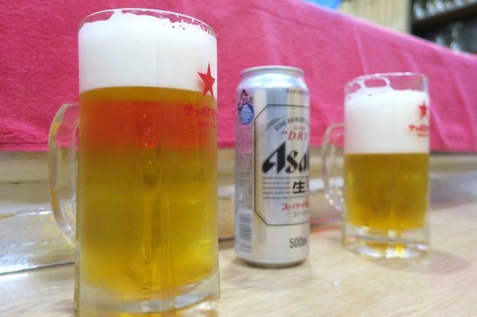 宮崎県高原町「酔処 順平」樽生が切れていて、おばちゃんの晩酌用缶ビールを出してもらった。