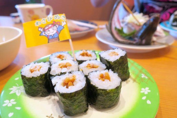 8鹿児島県霧島市「廻る寿司 めっけもん 国分店」納豆巻(120円)