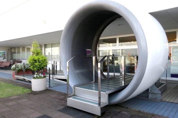 鹿児島空港の航空展示室「SORA STAGE(ソラステージ)」のボーイング747用ノーズカウル