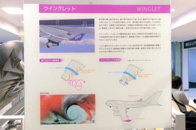 鹿児島空港の航空展示室「SORA STAGE(ソラステージ)」ウイングレットの説明。