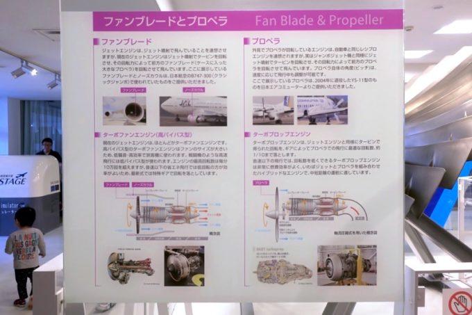 鹿児島空港の航空展示室「SORA STAGE(ソラステージ)」ファンブレードとプロペラの説明