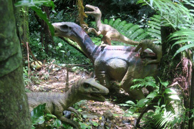 名護「DINO 恐竜 PARK やんばる亜熱帯の森」せなかに背負われた恐竜。