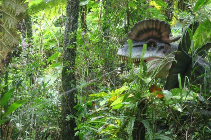 名護「DINO 恐竜 PARK やんばる亜熱帯の森」草むらに隠れている恐竜が水を吐く!