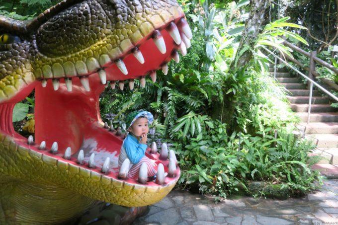 名護「DINO 恐竜 PARK やんばる亜熱帯の森」恐竜の口の中がお気に入り。
