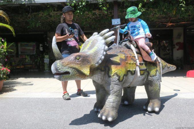 名護「DINO 恐竜 PARK やんばる亜熱帯の森」歩く恐竜にまたがるお子サマー。