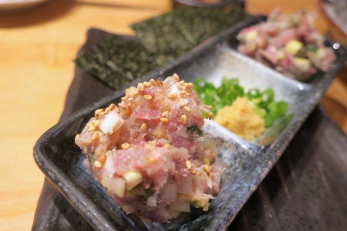 横浜・野毛「魚と酒 はなたれ 野毛一番街店」地魚なめろう(580円)