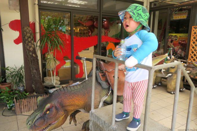 名護「DINO 恐竜 PARK やんばる亜熱帯の森」キッズスペースで水分補給
