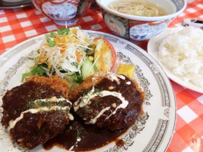 南風原・環境の杜ふれあい「ぬーじボンボン ニュータイプ」メンチカツ定食(800円)
