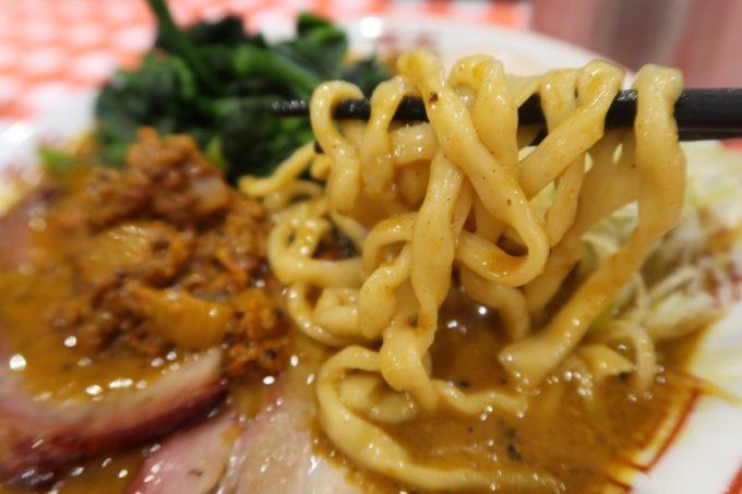 南風原・環境の杜ふれあい「ぬーじボンボン ニュータイプ」スパイシーヌードルの中太麺